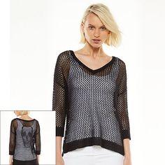 Rock & Republic® Open-Work Skull Sweater - Women's