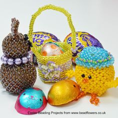 This beading tutorial shows you how to make an easter bunny. It is based on the snowman decoration from my book, 'Beaded Christmas Decorations'. Beaded Christmas Decorations, Snowman Decorations, Christmas Ornaments, Easter Projects, Tiny Flowers, Beading Projects, Peyote Stitch, Brick Stitch