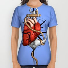 Love and Sea (anchor with heart and compass) by #Beatrizxe | #society6 #tee #shirt #fashion Illustration of a heart pierced by an anchor and surrounded by a rope. The background is a compass or windrose. It has a maritime theme, due to It shows a love for the sea and everything it contains.#ocean #sea #tattoo #navy #ship #sailor #nautical #anchor #beach #sailing #boat #oldschool #waves #tide #heart #love #rope #compass #windrose #ink #travel #journey #voyage #illustration #draw #drawing #art