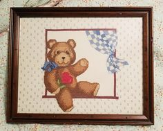 "Completed Cross Stitch Teddy Bear in the Window Framed Picture 15"" X 12""  
