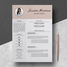 Modern Resume Template For Word And Pages The Lauren  Instant