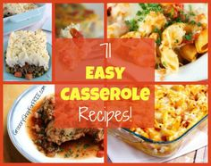 71 Easy Casserole Recipes - Find everything from one skillet meals, to Crockpot creations, to family favorites just like Mom used to make!
