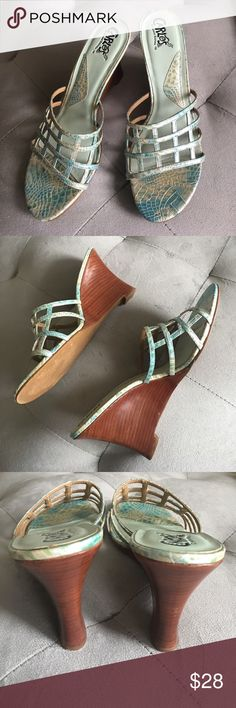 Carlos Santana wedge heels Carlos Santana Wedge Heels. Wooden heel and Leather upper. Mint green, aqua, cream snakeskin embossed leather. Excellent condition. Worn three times max. Carlos Santana Shoes Wedges