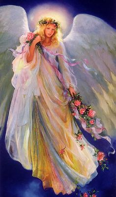 Angel with roses. Angel Images, Angel Pictures, Art Pictures, Entertaining Angels, Angel Prayers, I Believe In Angels, My Guardian Angel, Angels Among Us, Angels In Heaven