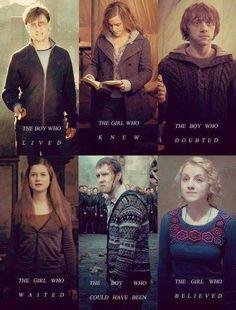 Harry Potter, Hermione Granger, Ron Weasly, Ginny Weasly, Neville Longbottem, Luna Lovegood