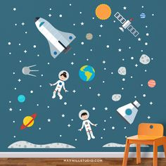 Space Astronaut Wall Decals by Maxwill Studio https://maxwillstudio.com/products/space-astronaut-wall-decals