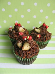 Stachli - Sinti Mascot    Black Forest (cherry pie filling) Cupcakes, with Marzipan Hedgehogs.  A half a Century ago, Hedgehog was a Sinti delicacy, but in modern times they are revered and protected.