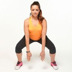 Start in a squat position, making sure your back is flat and weight is in your heels. Bring hands towards the ground in between legs, fingertips pointing towards floor. Hop, turning 90 degrees while staying low in the squat. Continue this rotation until you return to the front, then reverse the circle.