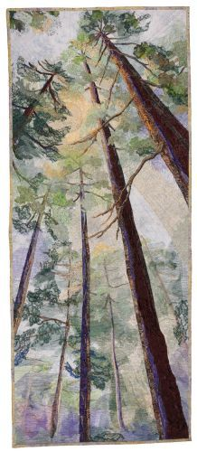 """CANOPY  •  Barbara Confer. Part of """"Seasonal Palette"""" quilt exhibit SAQA. Tall quilt looking up at trees! Line, perspective, contrast, repetition"""