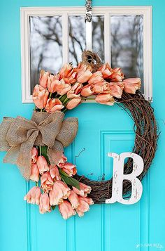 Spring Tulip Wreath how-to diy tutorial - I LOVE this one and these perfect flowers for front door decor - - Sugar Bee Crafts (holiday door wreaths how to make) Diy Spring Wreath, Spring Crafts, Holiday Crafts, Holiday Decor, Spring Wreaths For Front Door Diy, Front Door Wreaths, Holiday Wreaths, Wreath Crafts, Diy Wreath