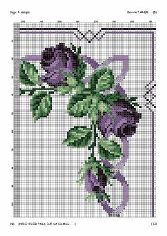 Cross Stich Patterns Free, Crochet Edging Patterns, Cross Stitch Borders, Cross Stitch Rose, Cross Stitch Flowers, Cross Stitching, Baby Dress Patterns, Purple Roses, Christmas Cross