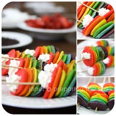 Mini Rainbow Pancake Kabobs w/Cool Whip Mini Rainbow Pancake Kabobs mit cooler Peitsche Pancakes On A Stick, Mini Pancakes, Waffles, Fruit Pancakes, Crepes, Cute Food, Good Food, Yummy Food, Cool Whip