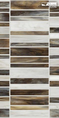 A beautiful glass mosaic tile, Helix offers the look of traditional stained glass—but with a modern twist on colors and shapes. The thin strips of glass have swirls and undulations of color throughout, like stained- glass windows. The difference is that these 6 colors are gorgeous updated neutrals—variations of taupes, creams, grey, black, and brown—including a tortoise-shell look and a frosted ice. Pictured in Elk Horn.