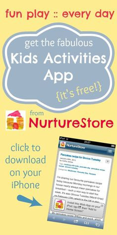 Get the fabulous kids' activities app from NurtureStore. It's free, easy to pop on your phone and gives you 800+ activity and play ideas for your kids. Great for play dates, rainy days, homeschool planning or just 'I'm bored' moments!