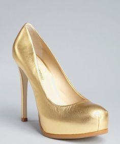Pour la Victoire : gold metallic leather concealed platform pumps : style # 317058505