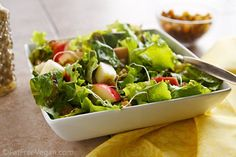Spicy Apple-Walnut Salad with Balsamic-Raisin Dressing #recipe