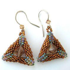 Copper and Crystal Peyote Triangle Earrings E2010-43 | FotoFuze