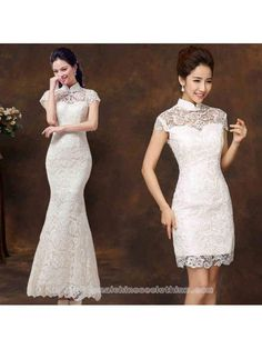 312c6ef7ed546 Cap sleeve white lace checonsam Chinese mandarin collar wedding dress. Chinese  Clothing TraditionalChinese ...