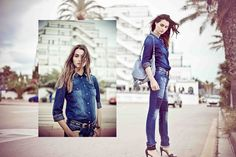 Chemise et jean femme, pantalon et sac en cuir IKKS