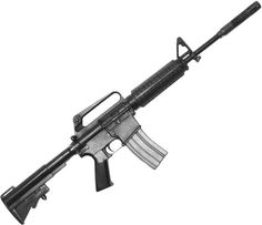 The (Colt Automatic Rifle gained major popularity with the development of the new and carbine. Note the telescoping stock and the shorter barrel. Most rifles were issued with a barrel.