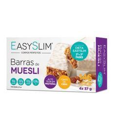 EasySlim Barras de Muesli são barras hiperproteicas com apenas 146 calorias, com alto teor de fibras, sendo uma alternativa prática e saudável ao lanche da manhã/tarde. EasySlim Barras de Muesli deve fazer parte de um regime alimentar variado e equilibrado e de um modo de vida saudável.