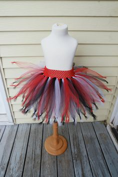 Handmade pirate tutu, toddler baby girl pirate tutu costume, red, white, black tutu