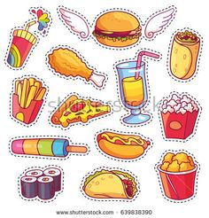 food cartoon Cool cartoon set of fast food patch badges in pop art style. Vector collection of stickers and pins with meal. Food Stickers, Printable Stickers, Cute Stickers, Planner Stickers, Cute Food Drawings, Kawaii Drawings, Pop Art Drawing, Food Cartoon, Cartoon Chicken
