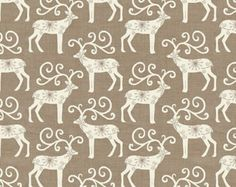 Reindeer in Taupe and Cream Scandinavian Christmas Fabric by Henley Studio for Andover Makower