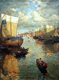 """Konstantin Gorbatov """"Nizhny Novgorod"""", 1919 (Russia, Post-Impressionism, 20th cent.)"""