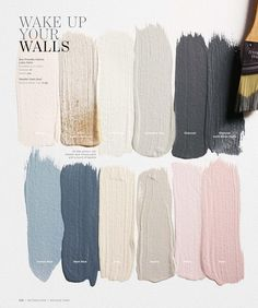 color palette inspiration - neutrals with charcoal, navy, and pale pink Paint Colors Bedroom Teen, Pink Bedroom Walls, Bedrooms With White Walls, Cream And Pink Bedroom, Pink And Beige Bedroom, Bathroom Paint Colours, Accent Wall In Bedroom, White And Brown Bedroom, Wall Painting Colors