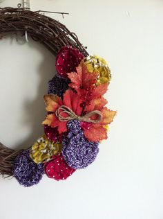 """A Falling Leaves with Purple, Red and Yellow Fabric Flowers, Removable Attachment for 15-18"""" Wreath on Etsy, $23.00"""