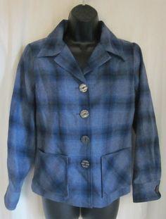 PENDLETON Women's Blue Black Plaid 100% Virgin Wool Blazer Jacket Petite Small #Pendleton #Blazer