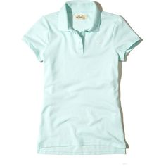 Hollister Stretch Pique Icon Polo (1.425 RUB) ❤ liked on Polyvore featuring tops, light turquoise, stretch top, slit tops, polo tops, slimming tops and green top