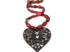 Ruby Impression Jasper & Copper Heart Necklace by KateKCreations