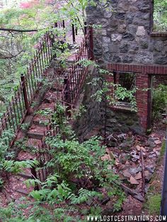 Untermeyer Mansion, Kinnelon, NJ. Plans were being made to turn the estate into a ski lodge when a fire destroyed almost everything that wasn't made of stone. That was in 1968. Since then, many people have tried to restore it, but as of now, it is vacant and no restoration work is being done.