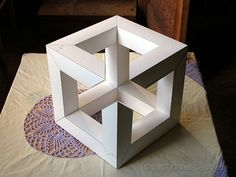 An impossible cube. I will make it in one day to complement my impossible box clock faces. Abstract Geometric Art, Geometric Drawing, Isometric Art, Art Decor, Decoration, Halloween Home Decor, Illusion Art, Welding Art, Optical Illusions