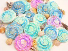 StudioStJames-Primitive Rustic Fossil Nautilus Cabochon-28mm-Handmade Polymer Clay-Teal-Blue-Gold,Aqua-Mint,Lilac-Pink Cab-PA 100473-100481 by StudioStJames on Etsy