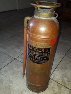 Vintage Badger's Fire Extinguisher #106239 Sumerville Massachusetts by TimelessArtLLC on Etsy