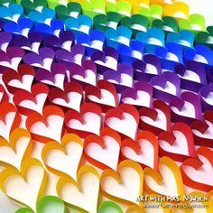 Rainbow heART Chain 💜💙💚💛🧡❤️   Art with Mrs. Nguyen