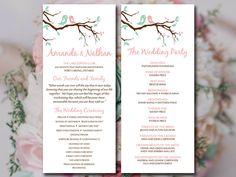 "Love Bird Wedding Program Template - Tea Length Program Printable Wedding ""Love Bird Branch"" Blush Minty Chocolate - Order of Ceremony by PaintTheDayDesigns on Etsy"