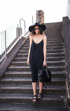modern legacy fashion blog ysl hat wide brim topshop silk cami slip dress street style inspo details monochrome trend vera xane black white ...