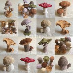 Crocheted mushroom collection by Botthéka CHANTERELLE Cantharellus cibarius RÓKAGOMBA BAY BOLETE Imleria badia BARNA TINÓRU COASTAL MUSHROOM Agaricus spissicaulis NAGY CSIPERKE COMMON STINKHORN Phallus impudicus ERDEI SZÖMÖRCSÖG FLY AGARIC Amanita muscaria PÖTTYÖS GALÓCA VERDIGRIS AGARIC Stropharia aeruginosa ZÖLD HARMATGOMBA HONEY FUNGUS Armillaria mellea TUSKÓGOMBA PORCINI Boletus edulis ÍZLETES VARGÁNYA STRANGULATED AMANITA Amanita ceciliae SELYEMGOMBA Crochet Food, Cute Crochet, Crochet Crafts, Crochet Dolls, Yarn Crafts, Knit Crochet, Beaded Crafts, Crotchet, Amigurumi Patterns