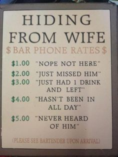 """Here is a creative way to make some extra cash – instead of offering the plain old beer and fries, this local bar decided to think outside the box and sell a rather controversial service to its diners. For a few additional bucks, you too could purchase the """"I'm hiding from my wife"""" package!"""