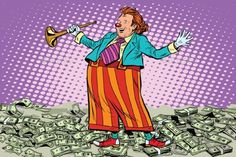 Business Concept Money Clown by studiostoks Business concept money clown joke pop art retro style. Cash drawing. Lottery