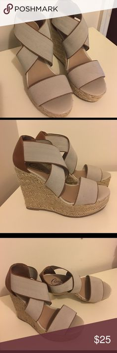 "⚡️SALE! ☀️ Candie's Wedge Sandals This cutie has elastic straps with heels are 4"" tall.  Slightly used in very good condition. Candie's Shoes Wedges"