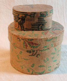 Early 19th C Miniature Wallpaper-covered Box