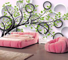 3D Wallpaper Tree And Circles Wallpaper Mural Wall Mural Wall Murals Removable Wallpaper