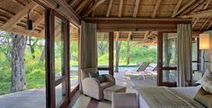A palatial suite at Dulini Leadwood Lodge in the Sabi Sand Private Game Reserve. Lodge Furniture, Bedroom Furniture Design, Game Lodge, Thatched House, Private Games, Game Reserve, Lodges, Safari, Cottage