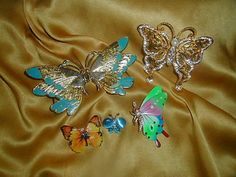 Huge Vintage Butterfly Moth Figural Brooch Sash Holder Lot Enamel Tin Litho Moonglow Rhinestone 3-Day Sale