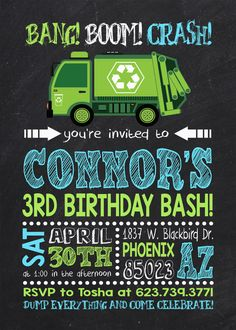 52 best garbage truck party images on pinterest garbage truck garbage truck birthday invitation garbage truck by claceydesign garbage truck party dump truck party filmwisefo